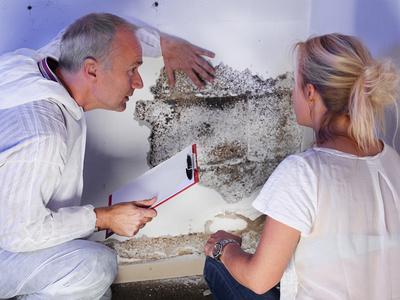 Pest controler explains something to a customer